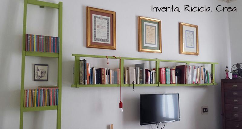 Arredamento faidate: libreria con scala a pioli - Inventa Ricicla Crea