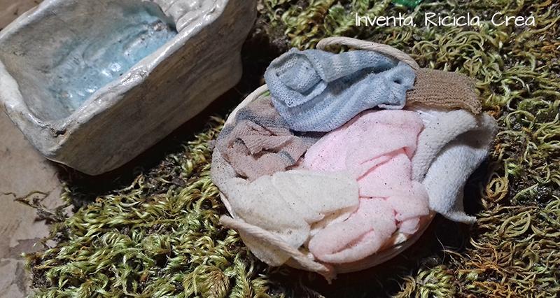 Cestino di panni per presepe fai da te - Inventa Ricicla Crea