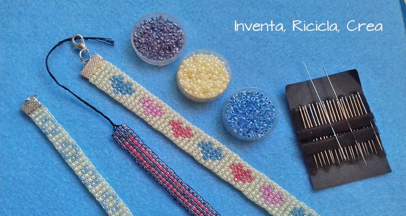 bracciali a fascia con telaio perline